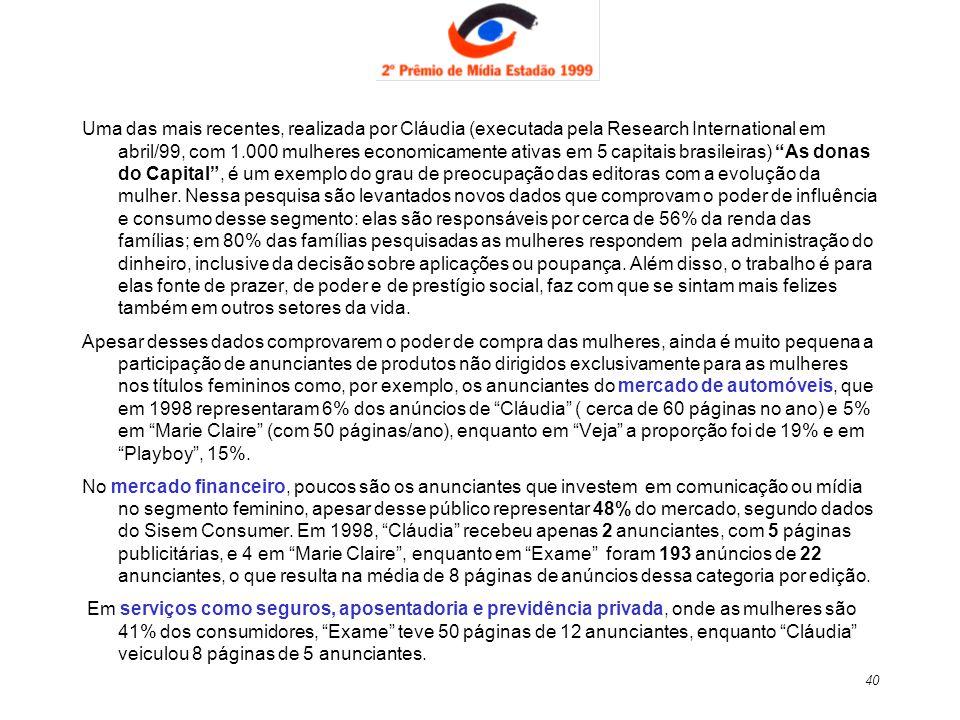40 Uma das mais recentes, realizada por Cláudia (executada pela Research International em abril/99, com 1.000 mulheres economicamente ativas em 5 capi