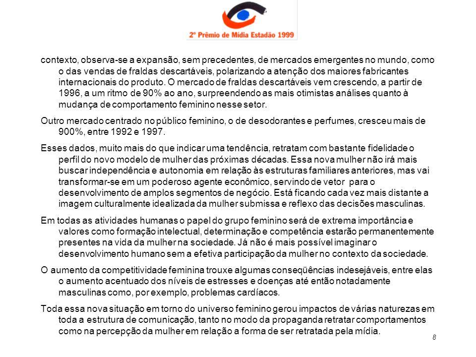 9 A Mulher e a Propaganda A principal queixa das mulheres é que elas são retratadas de forma caricata nos anúncios, constatou Jaime Troiano - ( 150 entrevistas entre paulistanas da classe média, 1998).