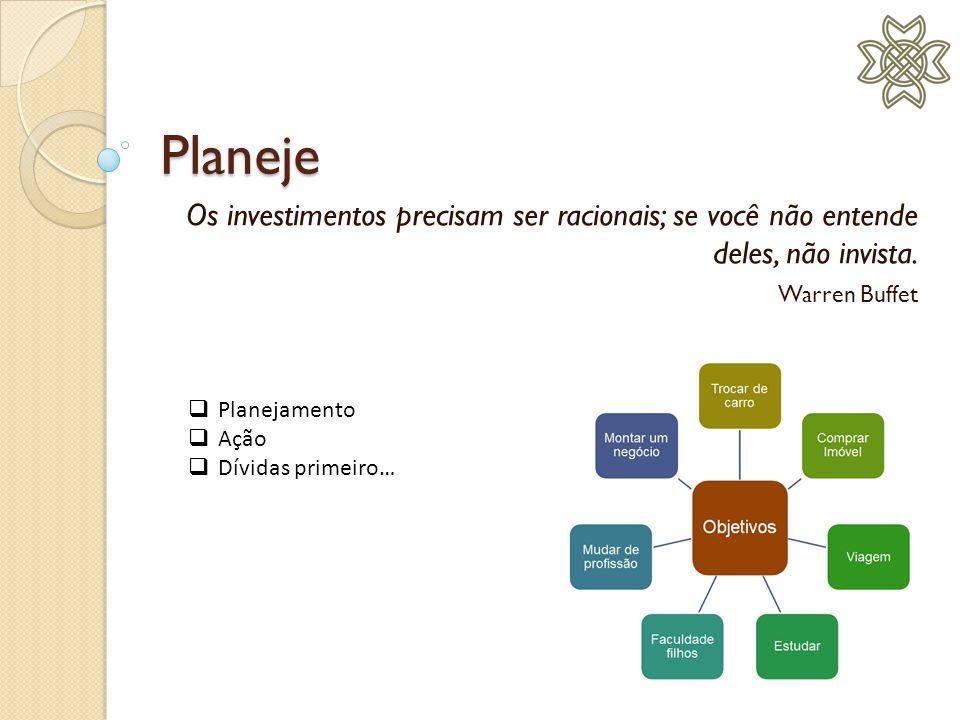 Planeje Os investimentos precisam ser racionais; se você não entende deles, não invista. Warren Buffet Planejamento Ação Dívidas primeiro…