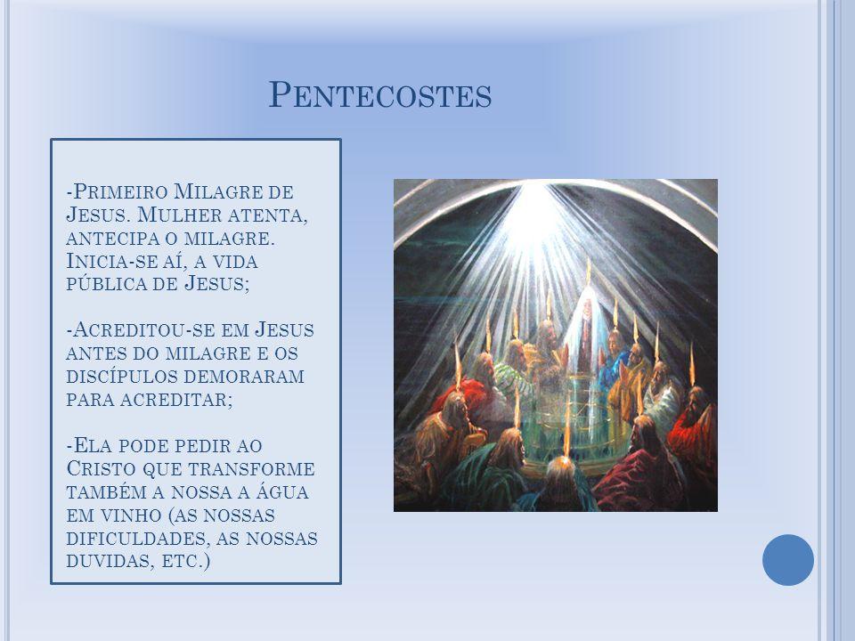 P ENTECOSTES -P RIMEIRO M ILAGRE DE J ESUS. M ULHER ATENTA, ANTECIPA O MILAGRE.