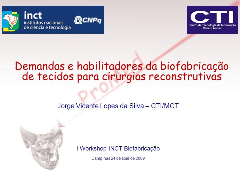 Jorge Vicente Lopes da Silva – CTI/MCT I Workshop INCT Biofabricação Campinas 24 de abril de 2009 Demandas e habilitadores da biofabricação de tecidos