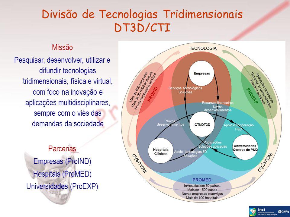 Missão Pesquisar, desenvolver, utilizar e difundir tecnologias tridimensionais, física e virtual, com foco na inovação e aplicações multidisciplinares