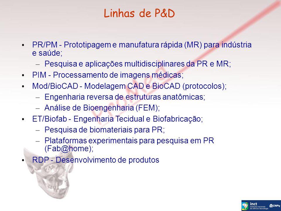 Linhas de P&D PR/PM - Prototipagem e manufatura rápida (MR) para indústria e saúde; – Pesquisa e aplicações multidisciplinares da PR e MR; PIM - Proce