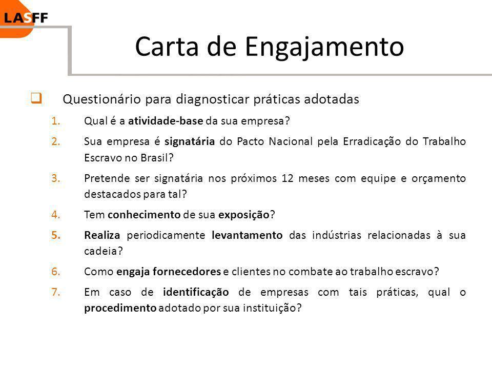 Carta de Engajamento Questionário para diagnosticar práticas adotadas 1.Qual é a atividade-base da sua empresa? 2.Sua empresa é signatária do Pacto Na