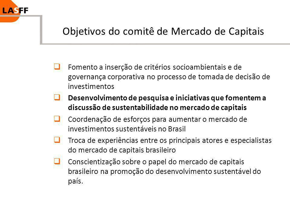Objetivos do comitê de Mercado de Capitais Fomento a inserção de critérios socioambientais e de governança corporativa no processo de tomada de decisã