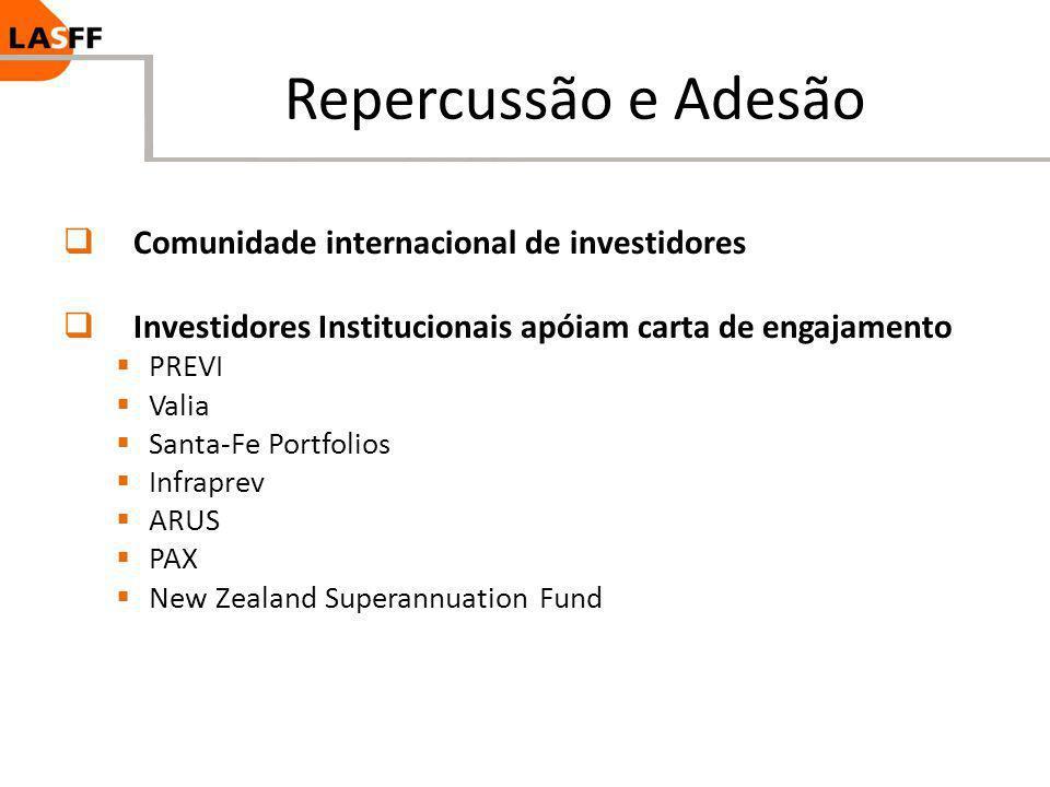 Repercussão e Adesão Comunidade internacional de investidores Investidores Institucionais apóiam carta de engajamento PREVI Valia Santa-Fe Portfolios