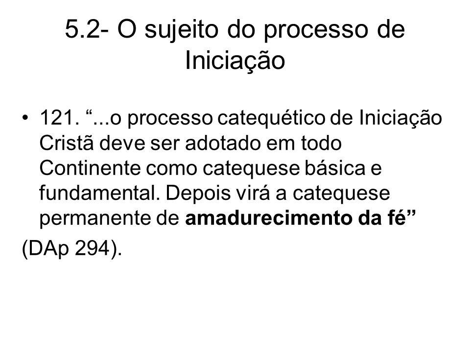 5.2- O sujeito do processo de Iniciação 121....o processo catequético de Iniciação Cristã deve ser adotado em todo Continente como catequese básica e fundamental.