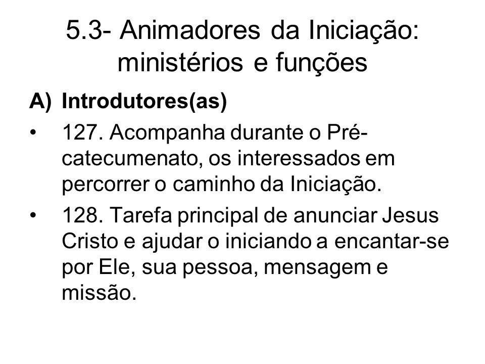 5.3- Animadores da Iniciação: ministérios e funções A)Introdutores(as) 127.
