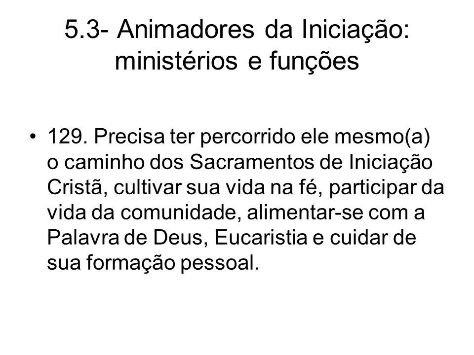 5.3- Animadores da Iniciação: ministérios e funções 129.