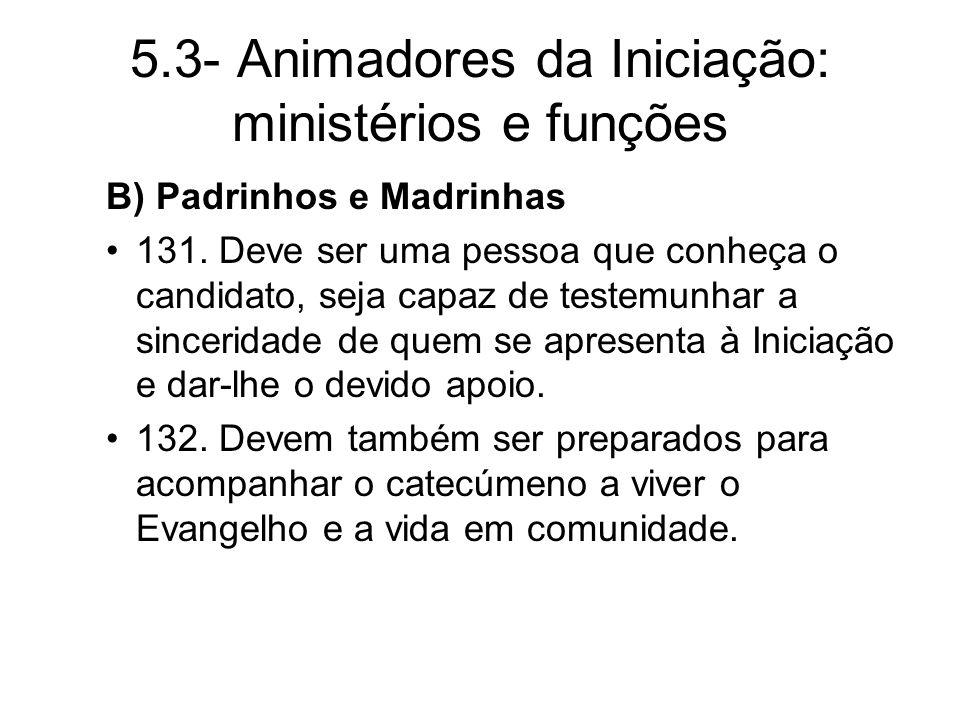 5.3- Animadores da Iniciação: ministérios e funções B) Padrinhos e Madrinhas 131.