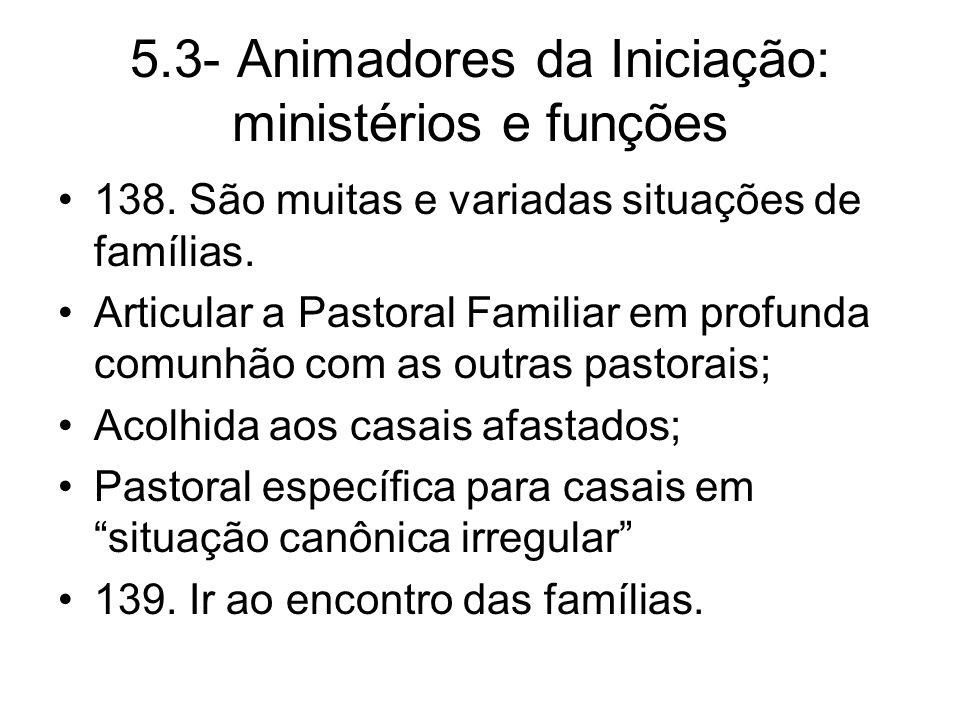 5.3- Animadores da Iniciação: ministérios e funções 138.