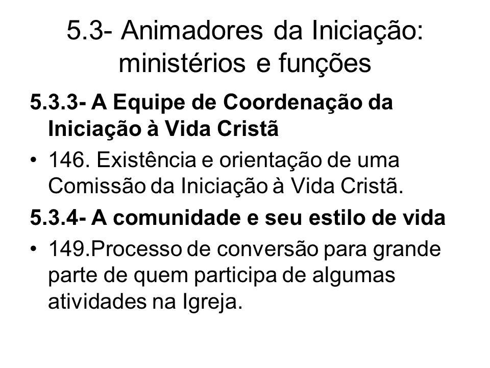5.3- Animadores da Iniciação: ministérios e funções 5.3.3- A Equipe de Coordenação da Iniciação à Vida Cristã 146.