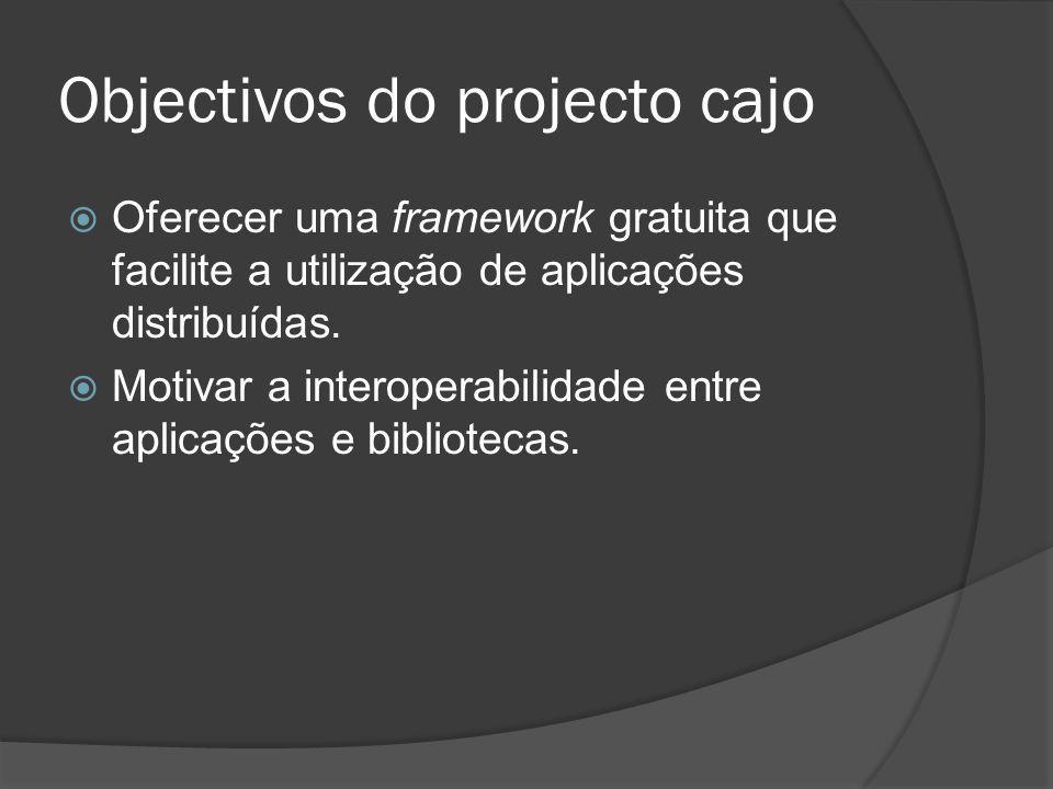 Objectivos do projecto cajo Oferecer uma framework gratuita que facilite a utilização de aplicações distribuídas. Motivar a interoperabilidade entre a