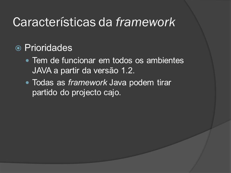 Características da framework Prioridades Tem de funcionar em todos os ambientes JAVA a partir da versão 1.2. Todas as framework Java podem tirar parti