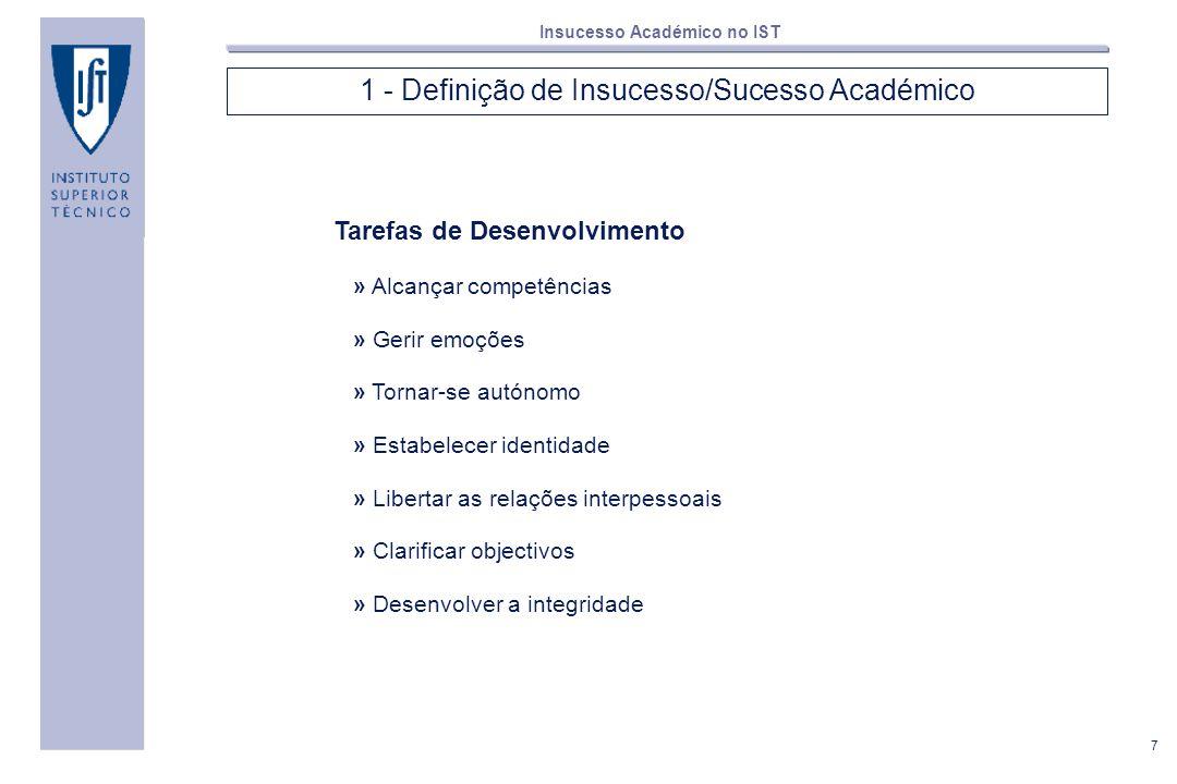 7 Insucesso Académico no IST 1 - Definição de Insucesso/Sucesso Académico Tarefas de Desenvolvimento » Alcançar competências » Gerir emoções » Tornar-