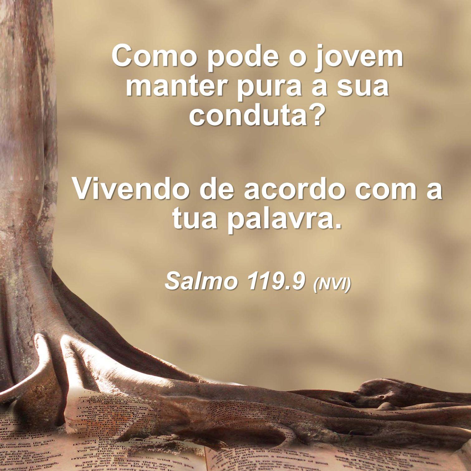 Como pode o jovem manter pura a sua conduta? Vivendo de acordo com a tua palavra. Salmo 119.9 (NVI)