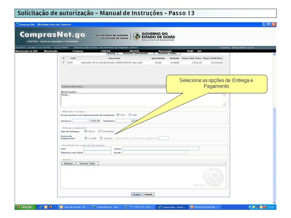 Solicitação de autorização – Manual de Instruções – Passo 13 Selecione as opções de Entrega e Pagamento