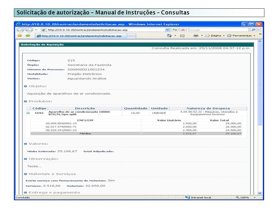 Solicitação de autorização – Manual de Instruções – Consultas
