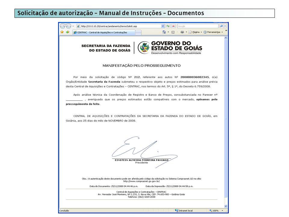 Solicitação de autorização – Manual de Instruções – Documentos