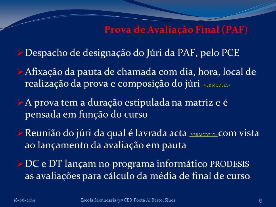 Prova de Avaliação Final (PAF) Despacho de designação do Júri da PAF, pelo PCE Afixação da pauta de chamada com dia, hora, local de realização da prov