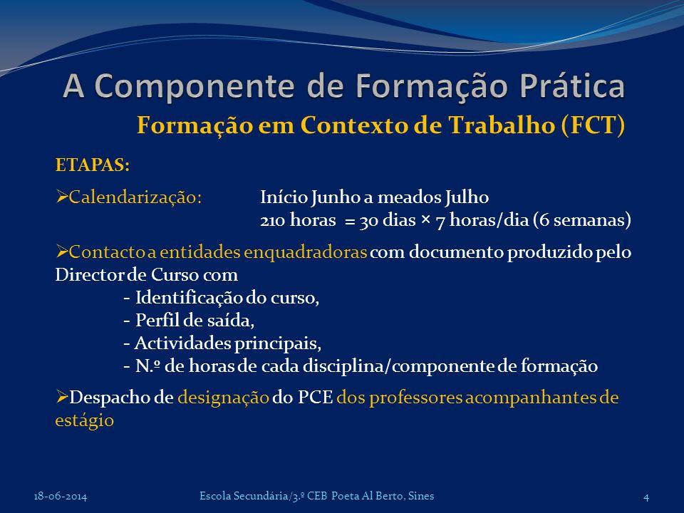 Formação em Contexto de Trabalho (FCT) 18-06-2014Escola Secundária/3.º CEB Poeta Al Berto, Sines ETAPAS: Calendarização: Início Junho a meados Julho 2
