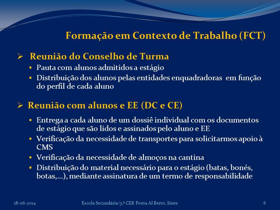 Formação em Contexto de Trabalho (FCT) Reunião do Conselho de Turma Pauta com alunos admitidos a estágio Distribuição dos alunos pelas entidades enqua