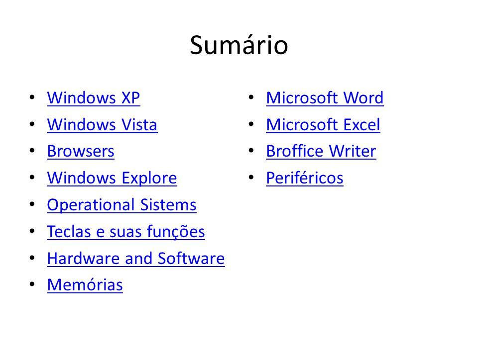 Sumário Windows XP Windows Vista Browsers Windows Explore Operational Sistems Teclas e suas funções Hardware and Software Memórias Microsoft Word Microsoft Excel Broffice Writer Periféricos