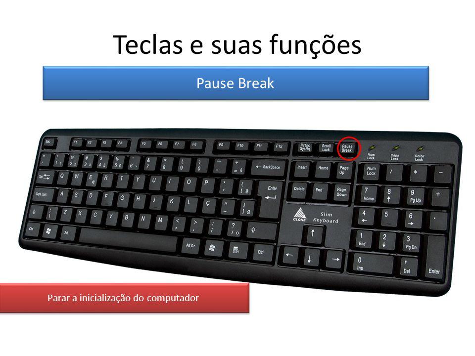 Teclas e suas funções Pause Break Parar a inicialização do computador