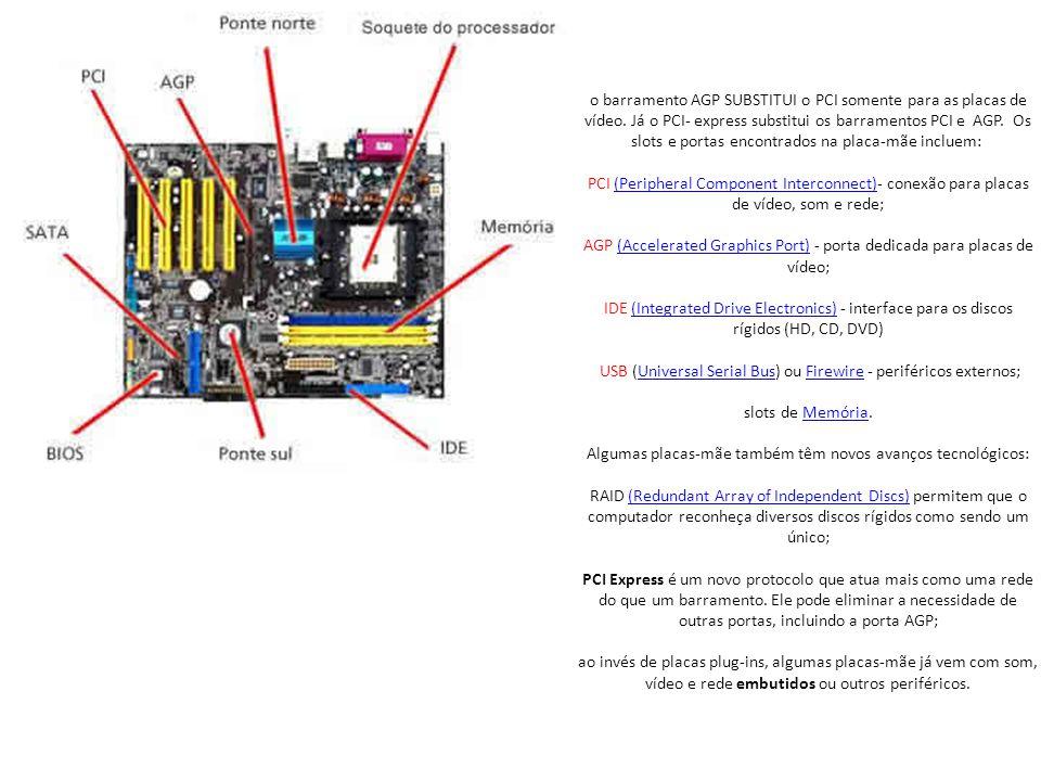 o barramento AGP SUBSTITUI o PCI somente para as placas de vídeo.