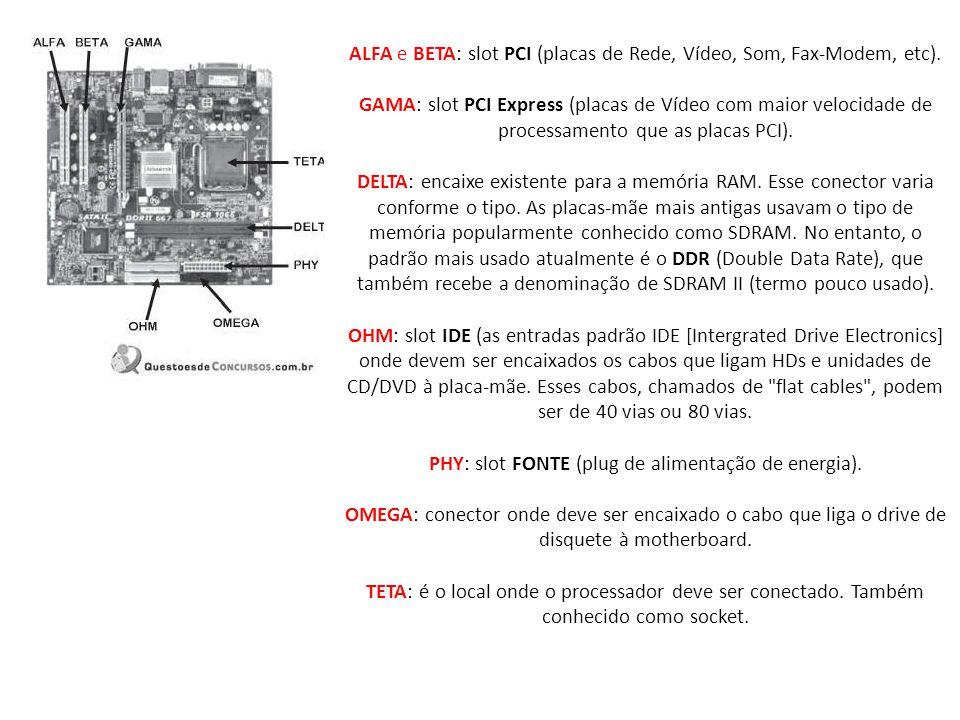 ALFA e BETA: slot PCI (placas de Rede, Vídeo, Som, Fax-Modem, etc).