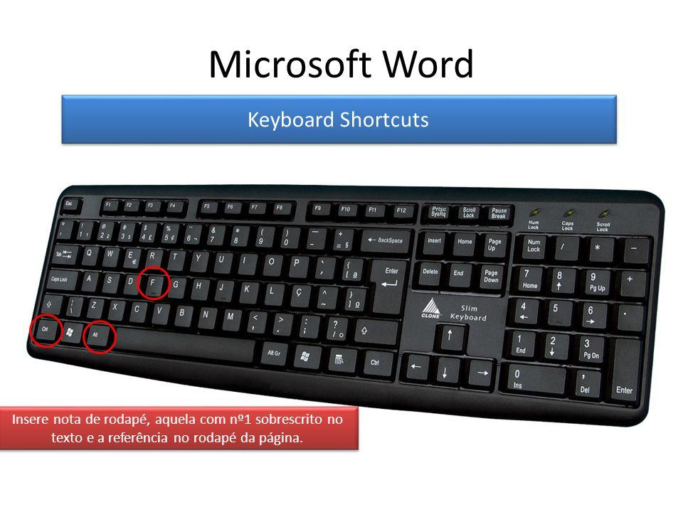 Keyboard Shortcuts Insere nota de rodapé, aquela com nº1 sobrescrito no texto e a referência no rodapé da página.