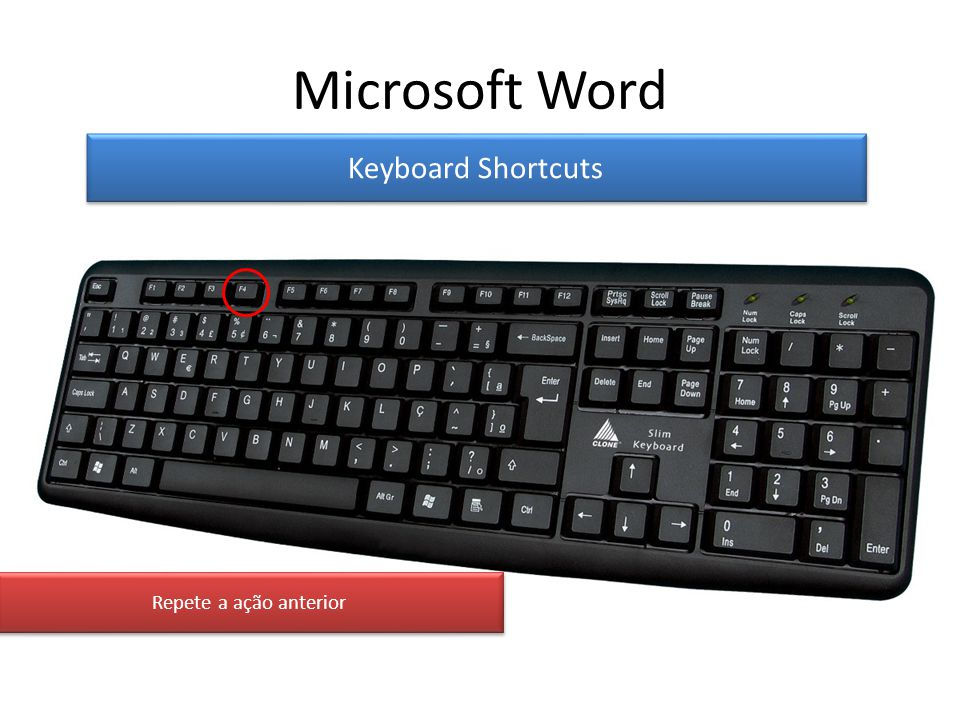 Microsoft Word Keyboard Shortcuts Repete a ação anterior