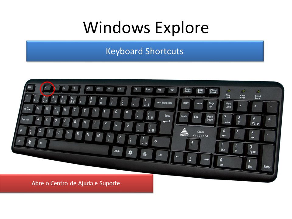 Windows Explore Keyboard Shortcuts Abre o Centro de Ajuda e Suporte