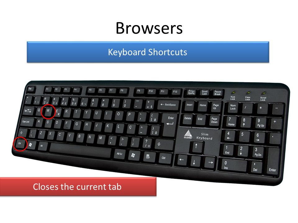 Browsers Keyboard Shortcuts Closes the current tab