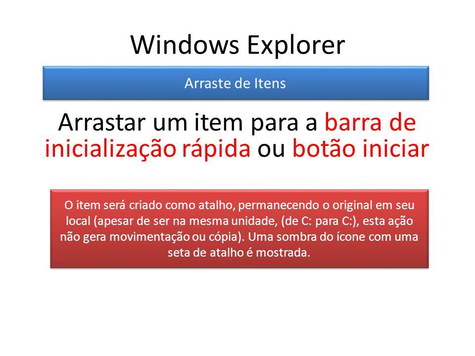 Windows Explorer Arraste de Itens O item será criado como atalho, permanecendo o original em seu local (apesar de ser na mesma unidade, (de C: para C:), esta ação não gera movimentação ou cópia).