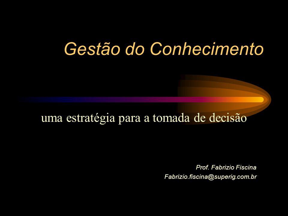 Gestão do Conhecimento uma estratégia para a tomada de decisão Prof. Fabrizio Fiscina Fabrizio.fiscina@superig.com.br