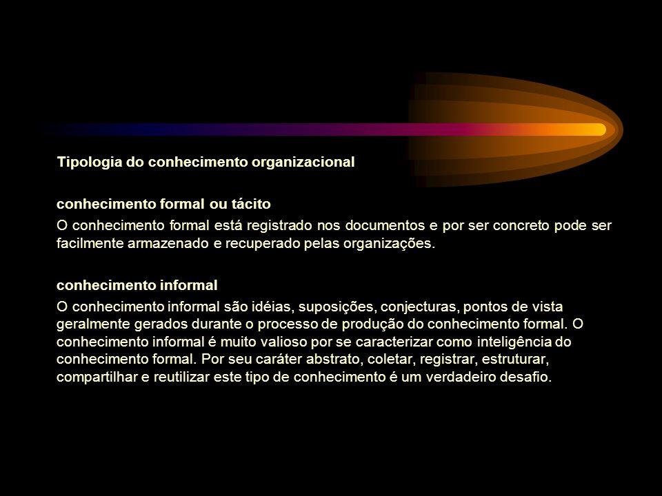 Tipologia do conhecimento organizacional conhecimento formal ou tácito O conhecimento formal está registrado nos documentos e por ser concreto pode se
