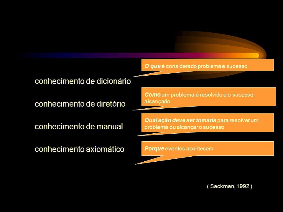 conhecimento de dicionário conhecimento de diretório conhecimento de manual conhecimento axiomático O que é considerado problema e sucesso Como um pro