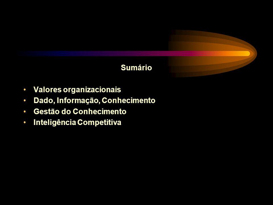Sumário Valores organizacionais Dado, Informação, Conhecimento Gestão do Conhecimento Inteligência Competitiva