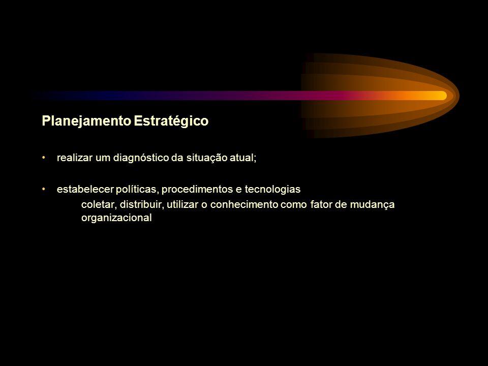 Planejamento Estratégico realizar um diagnóstico da situação atual; estabelecer políticas, procedimentos e tecnologias coletar, distribuir, utilizar o