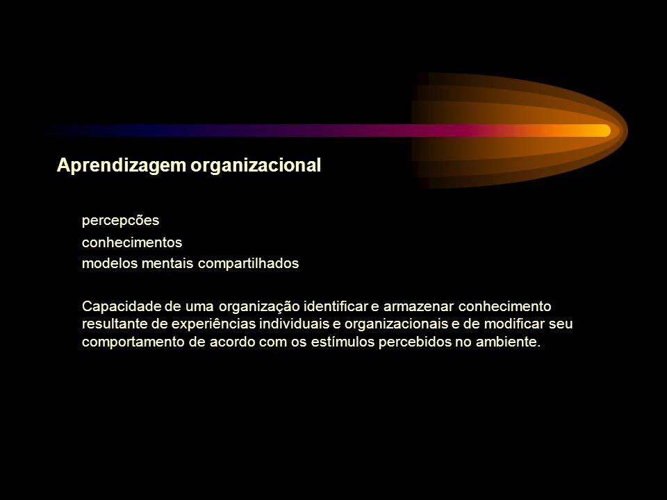 Aprendizagem organizacional percepcões conhecimentos modelos mentais compartilhados Capacidade de uma organização identificar e armazenar conhecimento