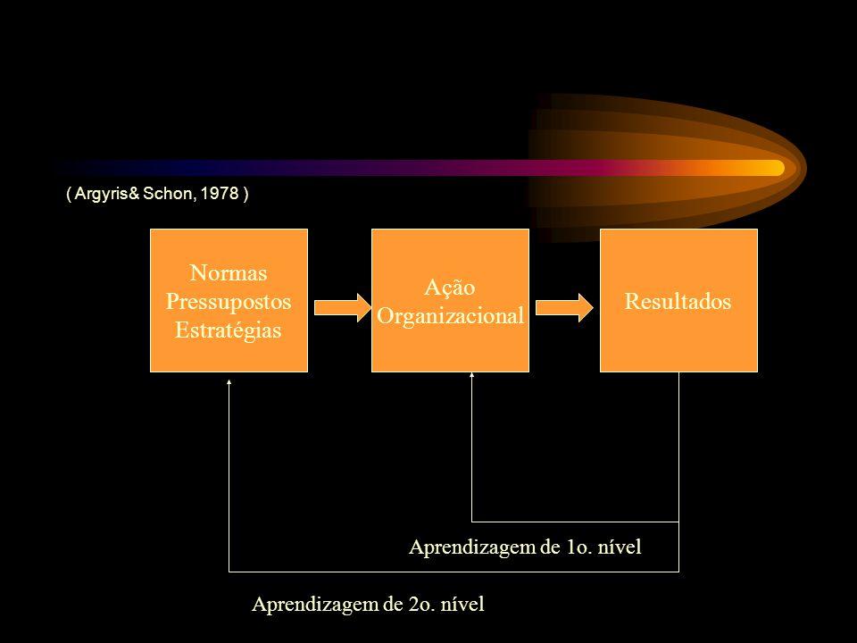 Normas Pressupostos Estratégias Ação Organizacional Resultados Aprendizagem de 1o. nível Aprendizagem de 2o. nível ( Argyris& Schon, 1978 )
