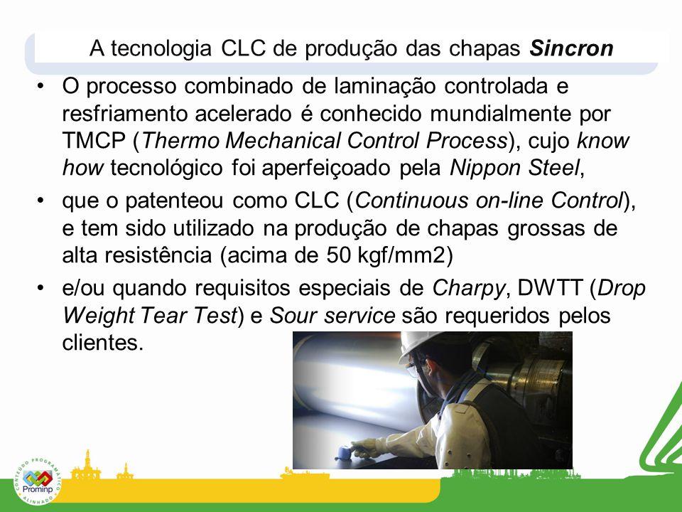 O processo combinado de laminação controlada e resfriamento acelerado é conhecido mundialmente por TMCP (Thermo Mechanical Control Process), cujo know how tecnológico foi aperfeiçoado pela Nippon Steel, que o patenteou como CLC (Continuous on-line Control), e tem sido utilizado na produção de chapas grossas de alta resistência (acima de 50 kgf/mm2) e/ou quando requisitos especiais de Charpy, DWTT (Drop Weight Tear Test) e Sour service são requeridos pelos clientes.