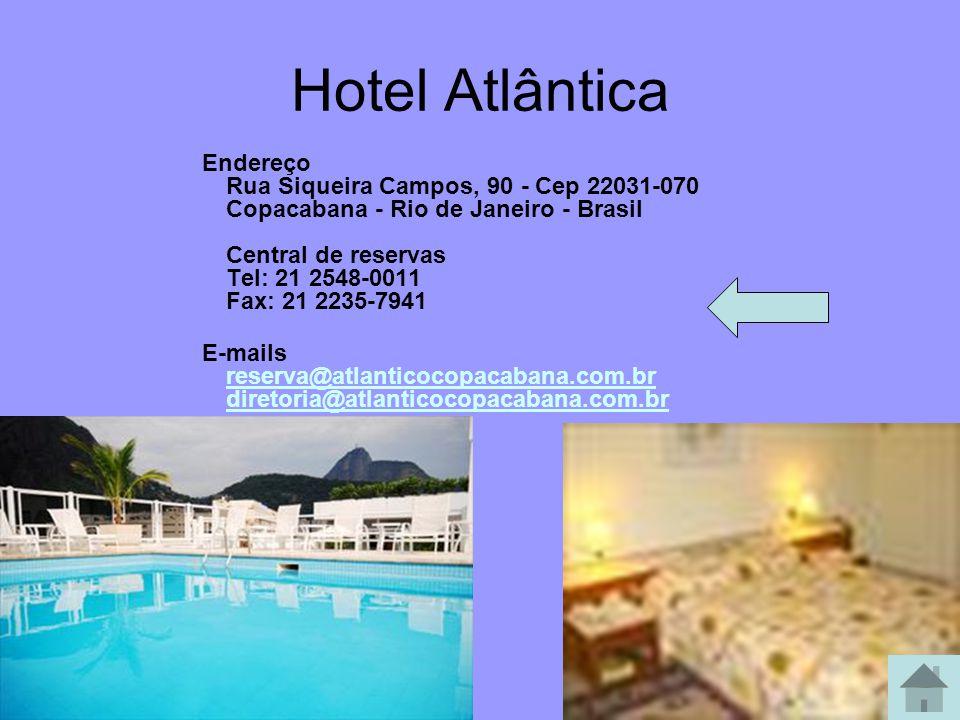 Hotel Arcos Rio Palace Av. Mem de Sá, 117 Lapa - Rio de Janeiro 22230-150 - Brasil Tel.: +55 21 2242-8116 Fax: + 55 21 2252-4732