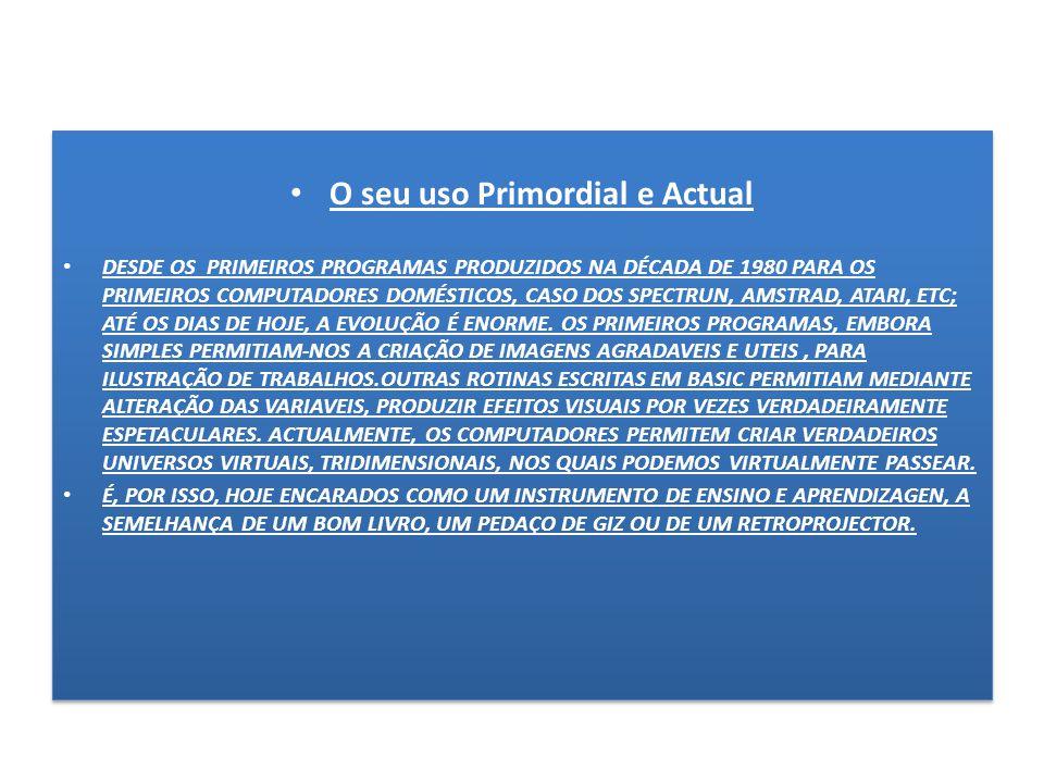 O seu uso Primordial e Actual DESDE OS PRIMEIROS PROGRAMAS PRODUZIDOS NA DÉCADA DE 1980 PARA OS PRIMEIROS COMPUTADORES DOMÉSTICOS, CASO DOS SPECTRUN, AMSTRAD, ATARI, ETC; ATÉ OS DIAS DE HOJE, A EVOLUÇÃO É ENORME.