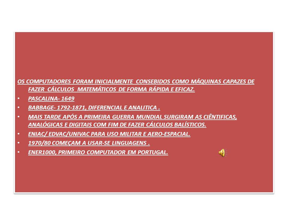 OS COMPUTADORES FORAM INICIALMENTE CONSEBIDOS COMO MÁQUINAS CAPAZES DE FAZER CÁLCULOS MATEMÁTICOS DE FORMA RÁPIDA E EFICAZ. PASCALINA- 1649 BABBAGE- 1