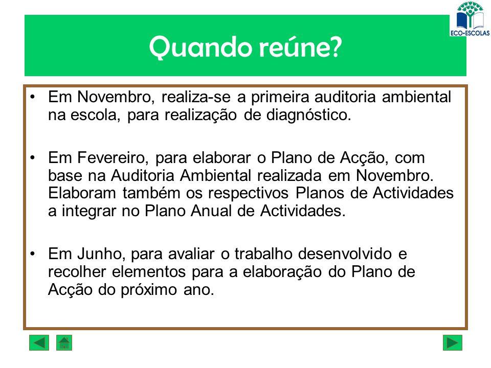Quando reúne? Em Novembro, realiza-se a primeira auditoria ambiental na escola, para realização de diagnóstico. Em Fevereiro, para elaborar o Plano de