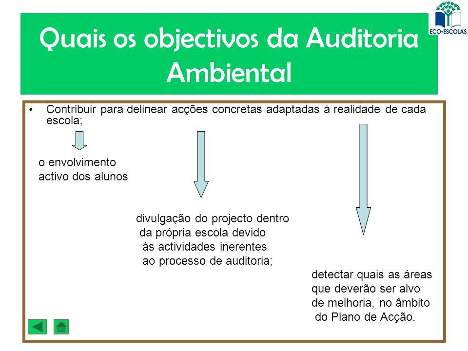 Quais os objectivos da Auditoria Ambiental Contribuir para delinear acções concretas adaptadas à realidade de cada escola; o envolvimento activo dos a