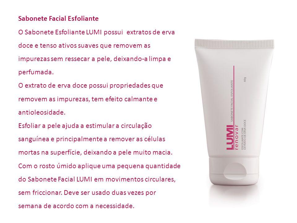 Sabonete Facial Esfoliante O Sabonete Esfoliante LUMI possui extratos de erva doce e tenso ativos suaves que removem as impurezas sem ressecar a pele,