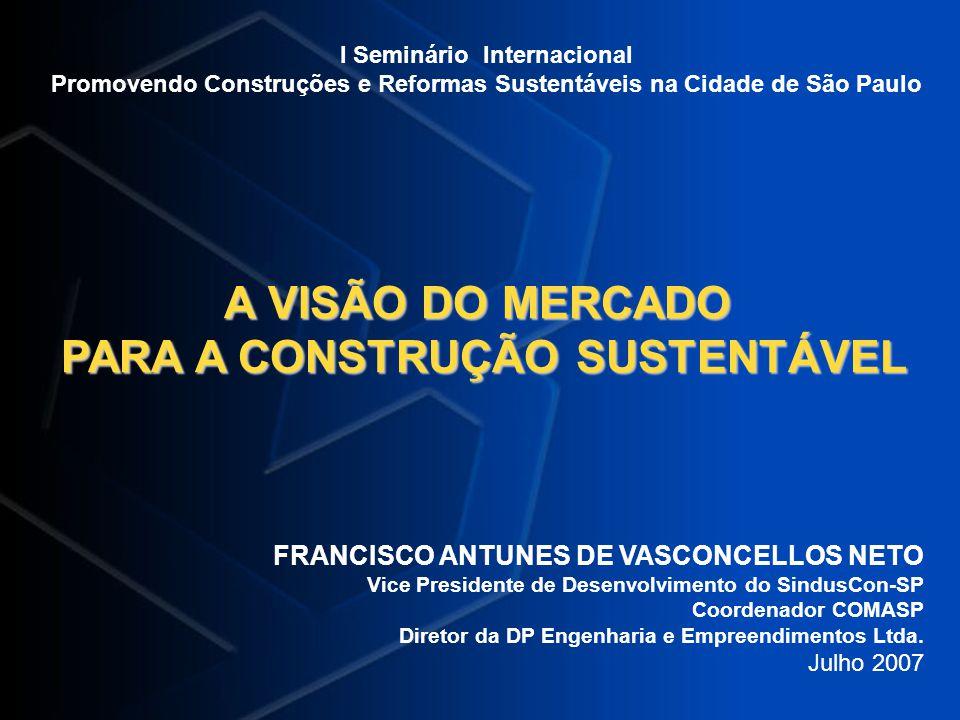 I Seminário Internacional Promovendo Construções e Reformas Sustentáveis na Cidade de São Paulo A VISÃO DO MERCADO PARA A CONSTRUÇÃO SUSTENTÁVEL PARA